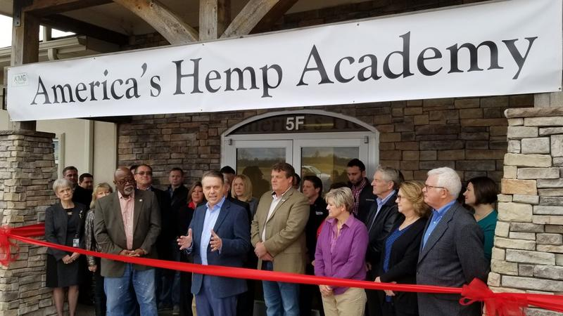 Gov. Jeff Colyer speaking at the opening of America's Hemp Academy in De Soto.