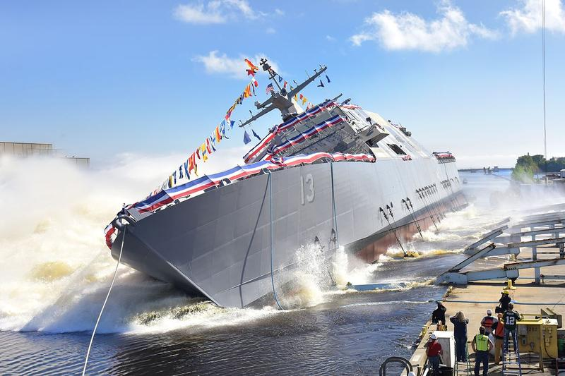 USS Wichita being launched on September 17, 2016.