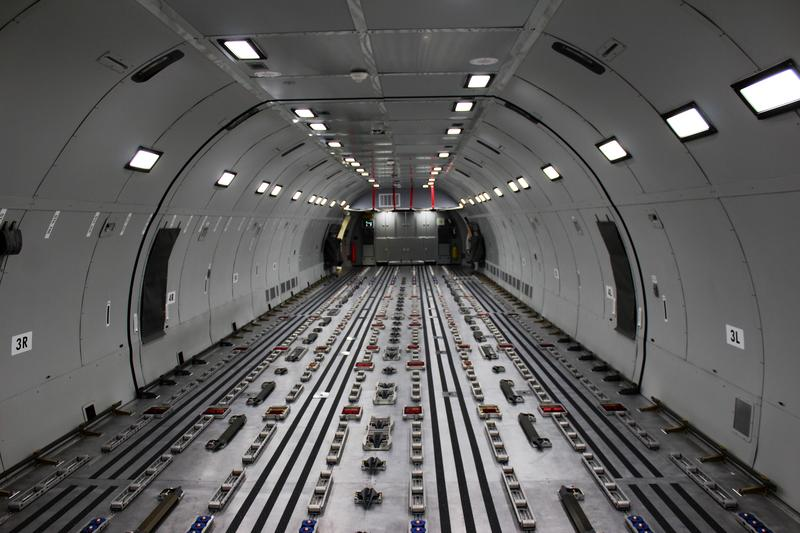 KC-46 tankers can hold up to 18 pallets of cargo or passenger seating.