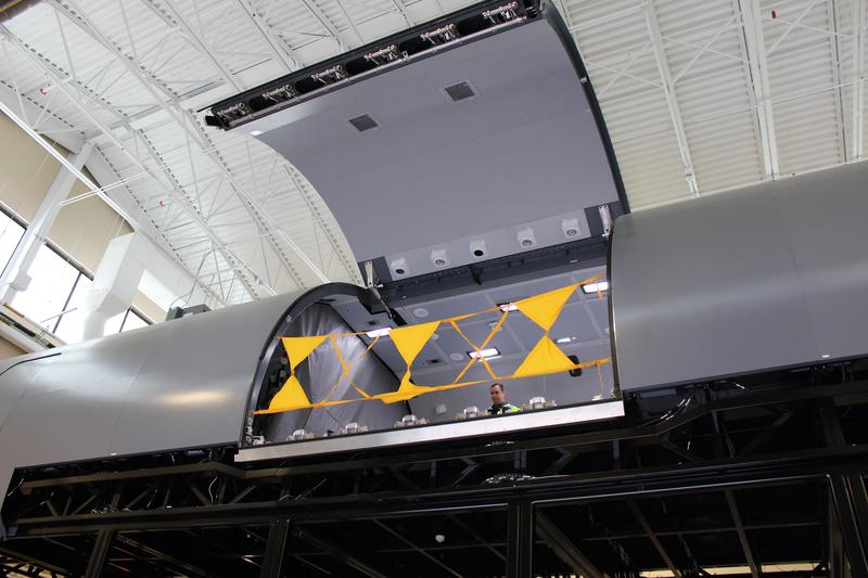 The KC-46 fuselage trainer is 14 feet above the ground. It is a full-scale replica of the cargo deck.