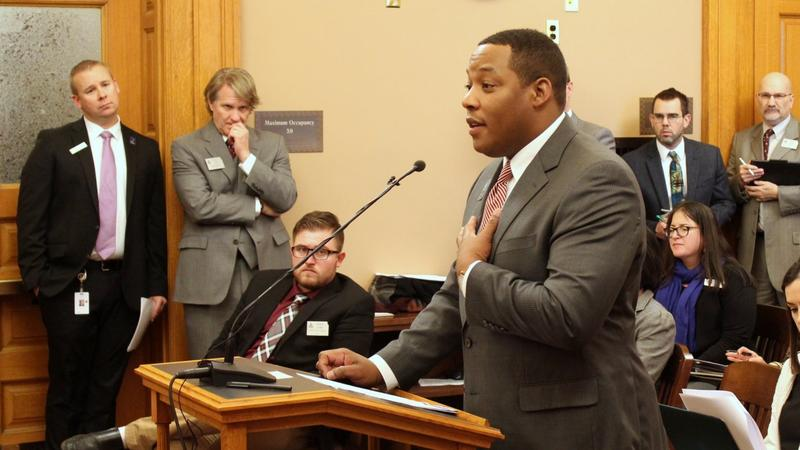 Patrick Woods, representing schools in Shawnee County, speaks to the committee Wednesday.