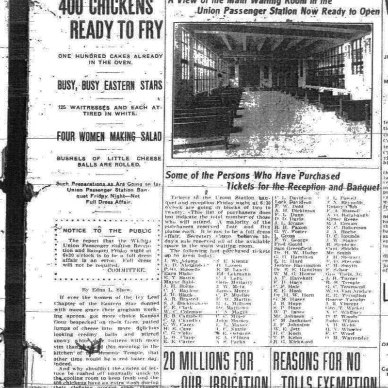 A newspaper clipping detailing what Union Station's dedication would consist of.