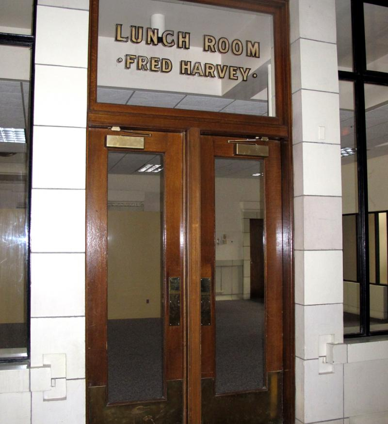 The entrance to the Fred Harvey Lunch Room. Fred Harvey is known to be the inventor of chain-restaurants. His Harvey Houses and Lunch Rooms were featured in many train stations across the country.