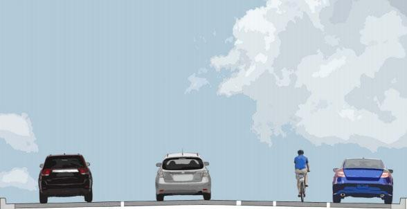 An illustration of one bike-friendly design option for Wichita streets.