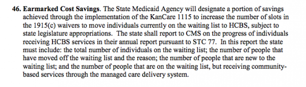 The language from the special terms and conditions that are part of  KanCare.