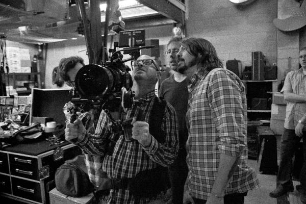 Dave Grohl and filmmakers during the making of the documentary, Sound City.