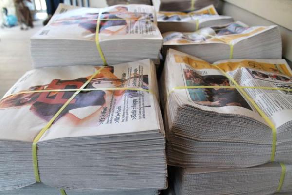 F5 papers sitting on Marlett's front porch Thursday, ready for distribution.