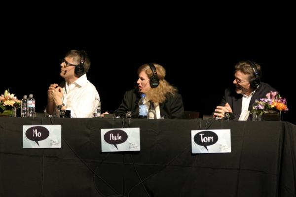 """Wait, Wait..."" panelists Mo Rocca, Paula Poundstone and Tom Bodett at a live staging of the show."