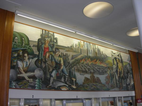 Mural by Harry Sternberg in a Chicago post office