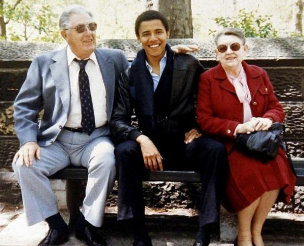 President Barack Obama with his grandparents, Stanley and Madelyn Dunham