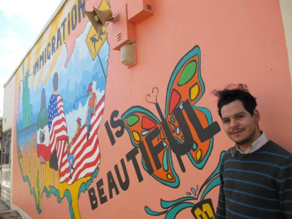 Armando Minjarez worked with students from South High School to create this new mural new 21st Street and Park Place.