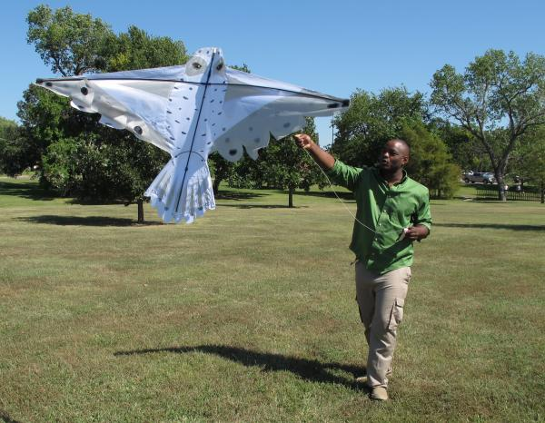 Durell Gilmore, 26, launches his snowy owl bird kite at Edgemoor Park.