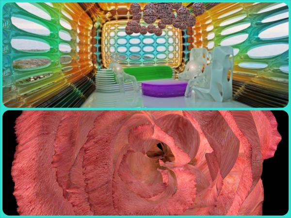 Top:Charles Lee, 'Dissipative System', 2010. Diamond ink jet print, 27 x 30 in. Bottom: Andrea Ackerman, 'Rose Breathing', 2003. 3D Computer animation, stereo sound, projector, 34-second continuous loop, dimensions variable. San Jose Museum of Art, Museum purchase with funds contributed by the Museum's Collection Committee.