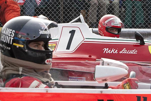 Hemsworth and Brühl prepare to drive at incredible speeds in 'Rush'