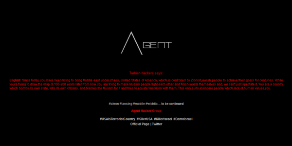 An image the Agent Hacking Group posted to its Twitter account, and which it says it posted to the city websites it hacked