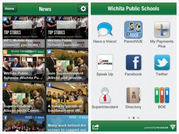 Screenshots of Wichita Public Schools' new mobile app taken from Apple's App Store.