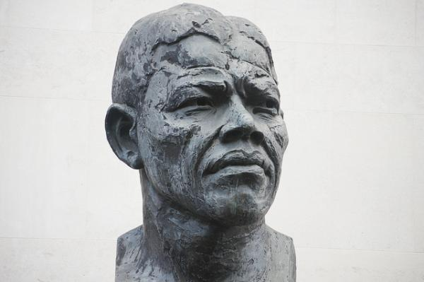 Bust of Nelson Mandela in Southbank, London