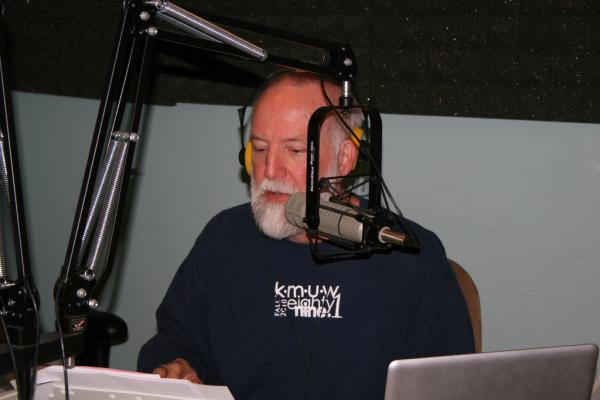 KMUW General Manager Mark McCain during a typical pledge drive.