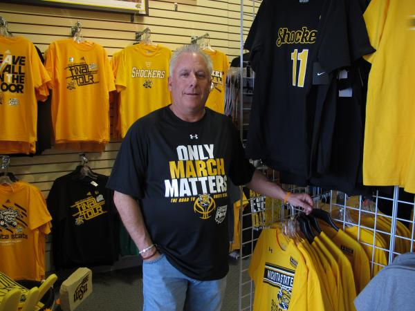 Tad's Locker Room in east Wichita features a lot of black and gold sports apparel. Owner Tad Snarenberger says he's seen a significant boost in sales as the Shockers have continued their winning streak.