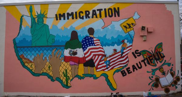 The Immigration mural after its first restoration.