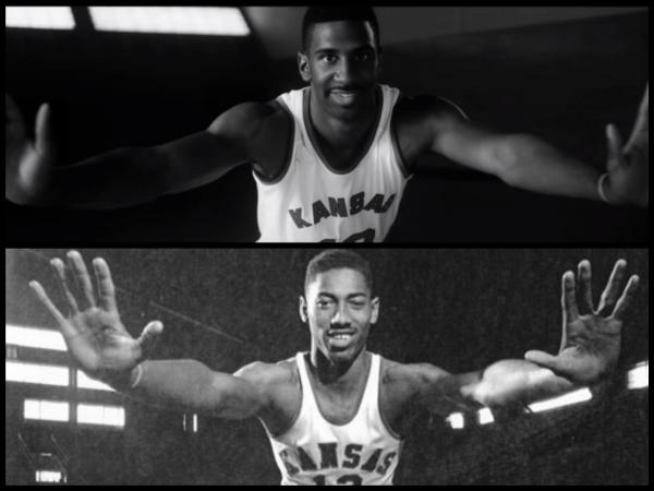 Top Photo: Current KU Forward Justin Wesley portrays Wilt Chamberlain in the independent film Jayhawkers. Bottom Photo: Legendery KU Center Wilt Chamberlain later went on to become the first NBA player to score 100 points in a game, setting a league record for the highest number of points scored in a single game, a record that still stands today.
