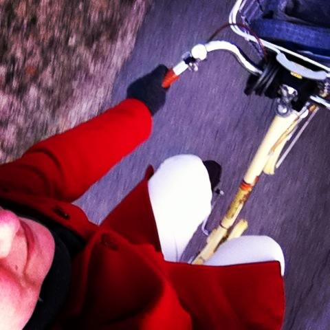 Amy attempts--and achieves!--a bike selfie on her way to work.