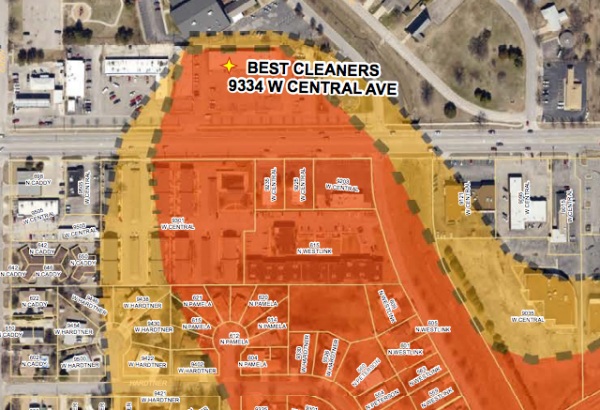 A small portion of a map provided by the Kansas Department of Health and Environment. It illustrates a new source of Tetrachloroethylene contamination in west Wichita.