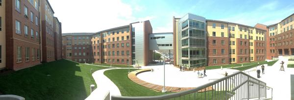 A panorama of Shocker Hall