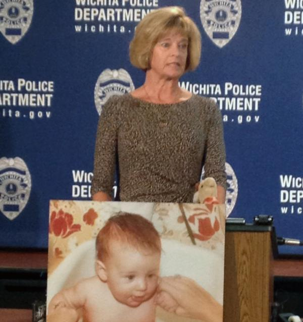 Wanda Stewart speaks out against drunk driving at a news conference in Wichita. Her three-month-old son Scott was killed by a drunk driver in 1981.