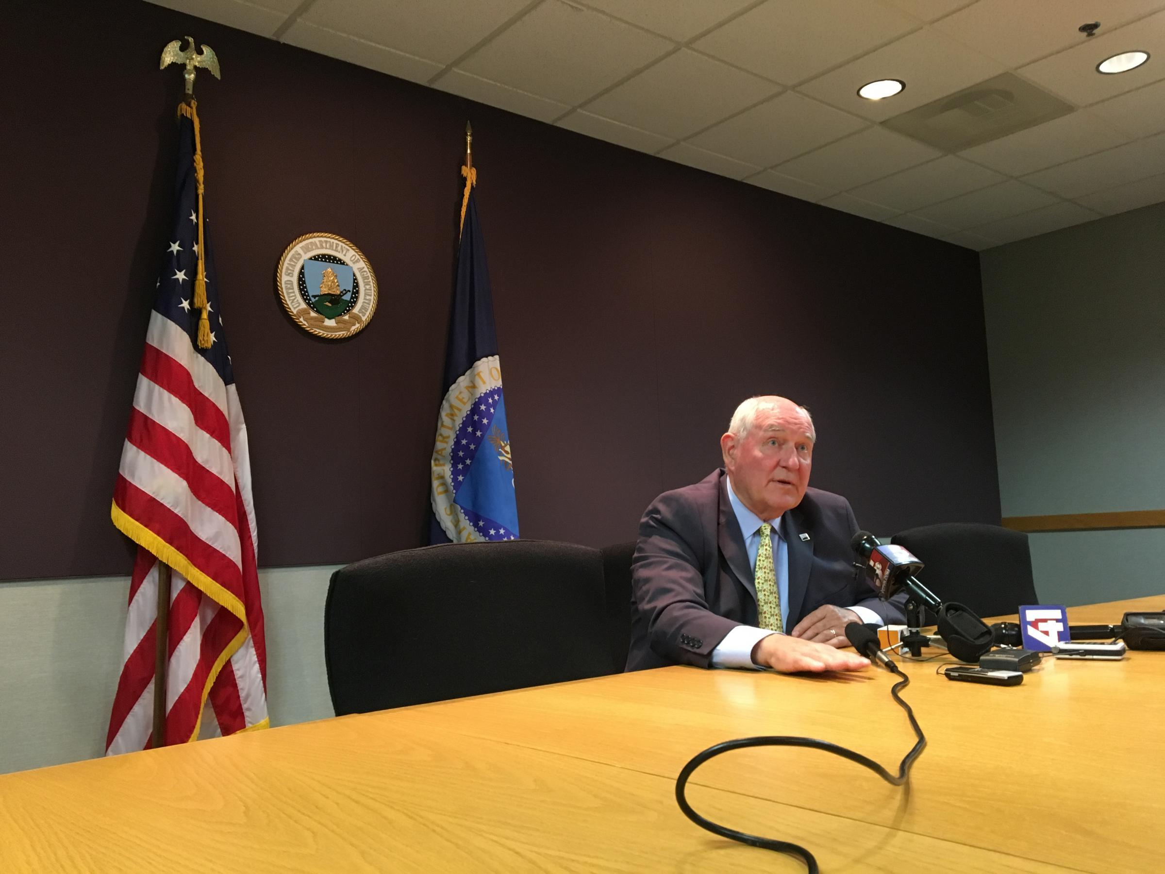 New U.S. Agriculture Secretary Sonny Perdue meets the media at a USDA office in Kansas City on Thursday his third day on the job