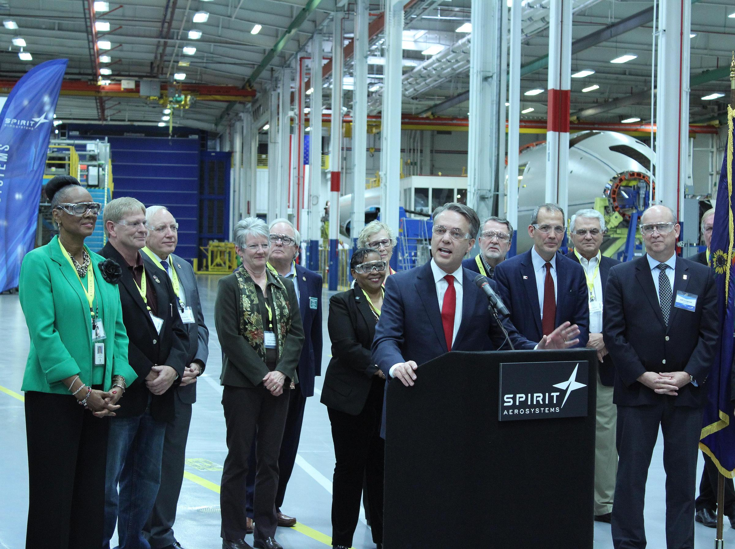Kansas Lt. Gov. Jeff Colyer speaks at an event Wednesday announcing Spirit Aerosystem's plans to expand its operations in Wichita adding about 1,000 new jobs