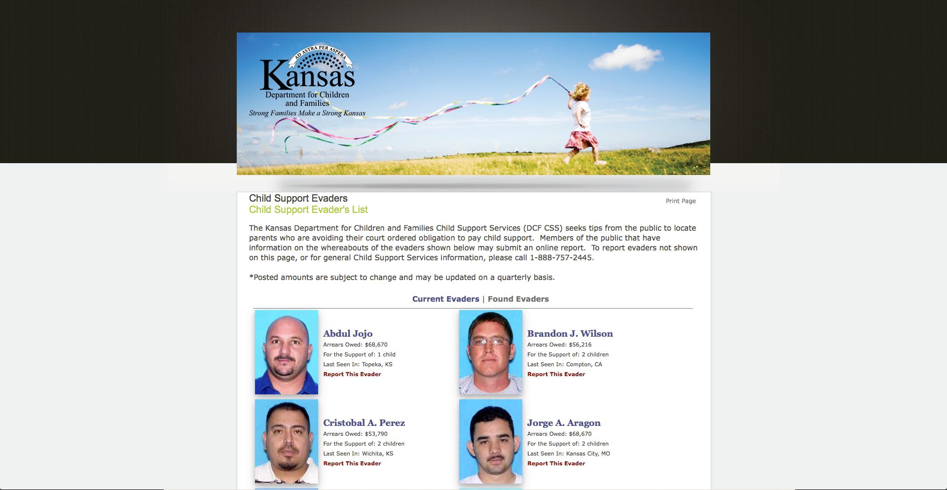 Kansas posting mug shots of child support 'evaders'