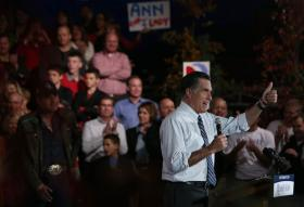 Republican presidential candidate, former Massachusetts Gov. Mitt Romney speaks during a campaign rally at the Red Rocks Amphitheatre on October 23, 2012 in Morrison, Colorado.