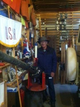 Jimmy Nunn shows off the Avalauncher in his Arizona Ski Museum