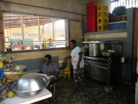 Cooking for nearly 100 at Foyer Renmen, Bon Repos, Haiti