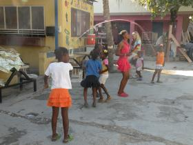 Afternoon Double Dutch in the courtyard at Foyer Renmen, Bon Repos, Haiti