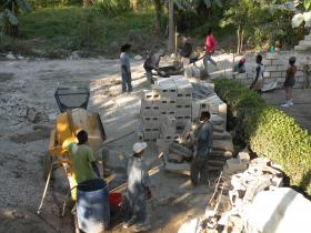Some of the Haitian workers hired for the wall project. Bon Repos, Haiti