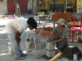 A lesson in wall building, Bon Repos, Haiti