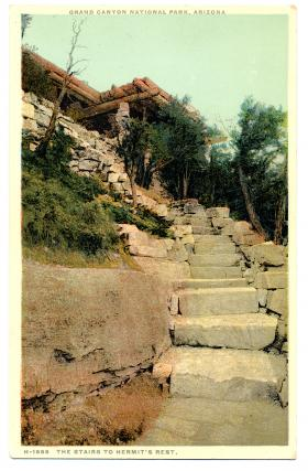 An old postcard photo of the stairs to Hermit's Rest