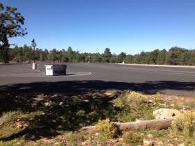 Day 1 of Government Shutdown: An empty visitor parking lot at the South Rim of Grand Canyon National Park.