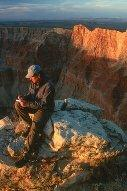 Flagstaff-based commentator, Scott Thybony at Comanche Point, Grand Canyon