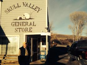 Owner Archie McDonald in front of the Skull Valley General Store.