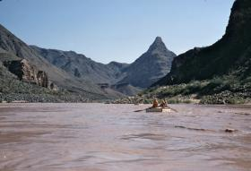 The Colorado River near Diamond Creek, with Diamond Peak towering in the background.