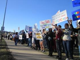 The protest opposing SB 1062 on Sun, Feb. 23 drew an estimated 500 people to the lawn outside Flagstaff City Hall.
