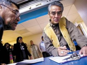 Former Navajo Nation president Joe Shirley Jr. (right) announced he will run for a third term. Some on the Navajo Nation Council seek to block that from happening.