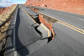 The collapsed section of Highway 89 between Marble Canyon and Page.