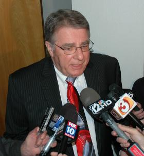 Sen. Steve Yarbrough, sponsor of SB 1062, talks with reporters Wednesday after he met with Gov. Jan Brewer to convince her to sign the legislation.