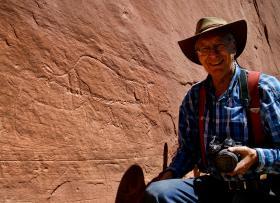 Ekkehart Malotki with the Ice Age petroglyphs in Utah.