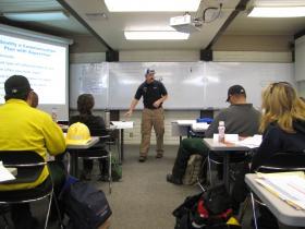 P.J. Pickett teaches a wildfire basics class.