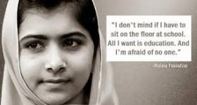 Malala Yousafzai, who survived an assassination attempt by the Taliban for her belief that girls worldwide are entitled to an education.